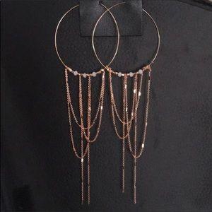 Free People Copper Chained Hoops Earrings